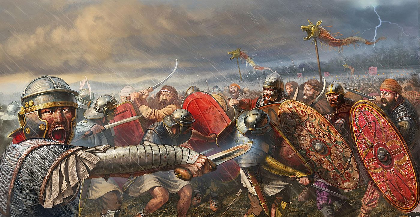 Romans in battle with the Dacians
