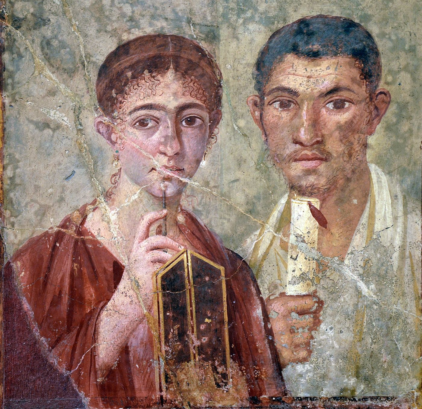Fresco showing a Roman couple