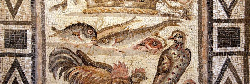 Fruits and animals on the Roman mosaic