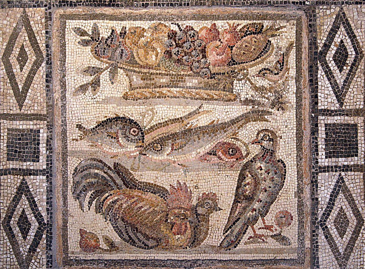 Owoce i zwierzęta na rzymskiej mozaice