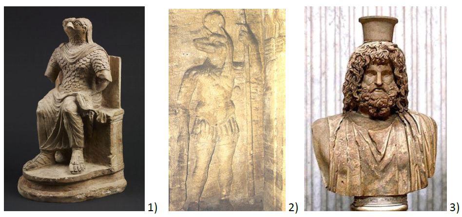 Egiptyzyjące posągi 1. Horusa 2. Anubisa 3. Serapisa