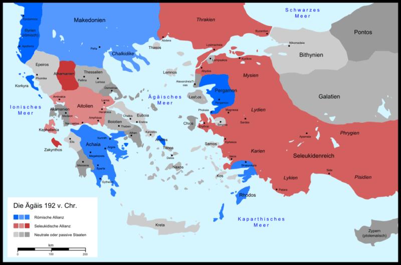 Mapa ukazująca Helladę w roku 192 p.n.e., przed wybuchem wojny