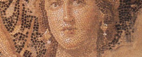 A woman's face on the Roman mosaic
