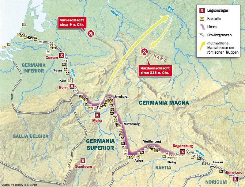 Położenie względem siebie pola bitwy Publiusza Kwinktyliusza Warusa w Lesie Teutoburskim z 9 r. n.e.