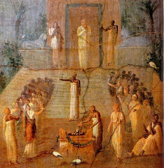 Fresk z Herkulanum przedstawiający świątynie Izydy