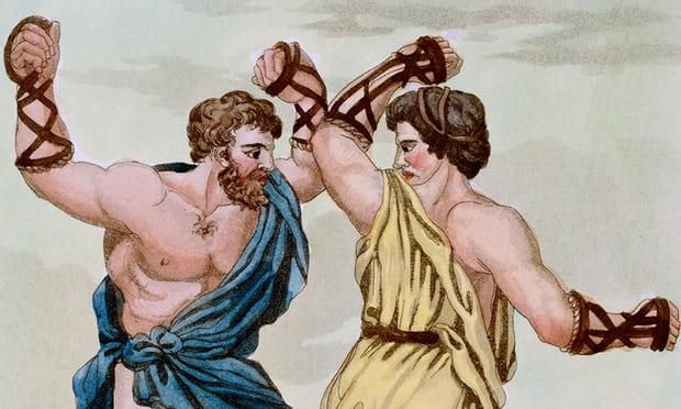 Rysunek ukazujący walki pięściarskie w czasach antycznych