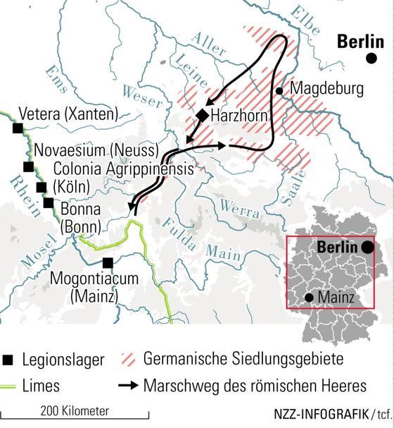 Marszruta armii rzymskiej pod wodzą cesarza Maksymina Traka wraz z lokalizacją wzgórza Harzhorn