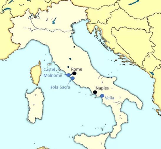 Czaszki poddane badaniom znajdują się na trzech różnych cmentarzyskach w Italii i datowane są na I-III wiek n.e.