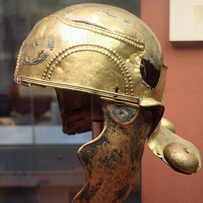 Roman rider helmet from the 1st century CE Object found in Witcham Gravel, Ely, Cambridgeshire (England)