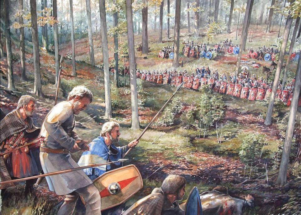 Wizja artystyczna bitwy u stóp wzgórza Harzhorn z 235 r. n.e.