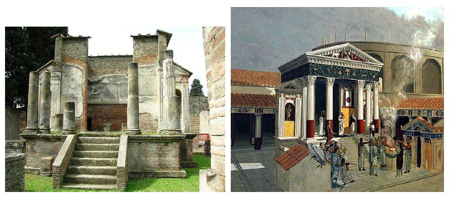 Ruiny świątyni Izydy w Pompejach i rekonstrukcja