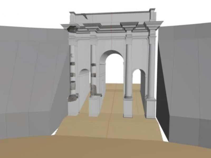 Wizualizacja drugiego łuku triumfalnego wkomponowanego w Circus Maximus