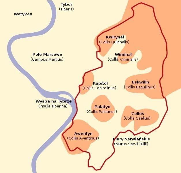 Ulokowanie siedmiu wzgórz (Septimontium) w Rzymie