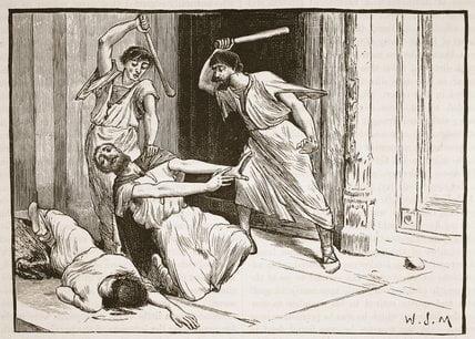 Rysunek ukazujący zatłuczenie na śmierć Tyberiusza Grakchusa