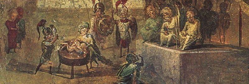 Fresk z Domu Lekarza w Pompejach ukazujący trzech żołnierzy rzymskich: dwóch w białych tunikach, a jednego w czerwonej tunice