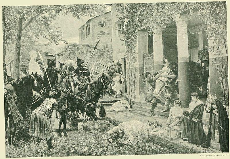 Plądrowana rzymska willa w Galii przez oddziały Attyli