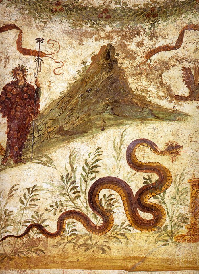 A fresco from Pompeii showing Bachus and Mount Vesuvius. As you can see, a volcano with one peak was shown