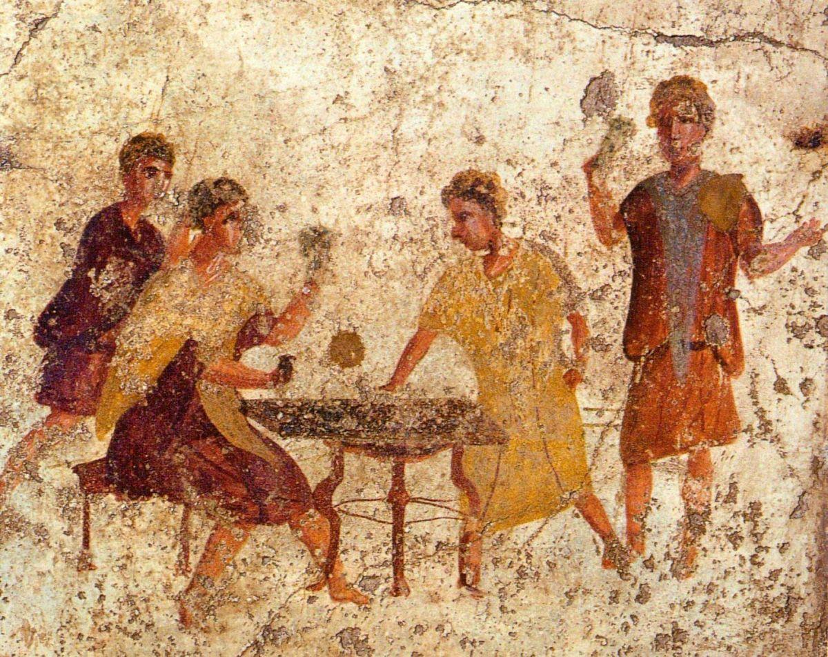Malowidło naścienne z Pompejów ukazujące grę w kości