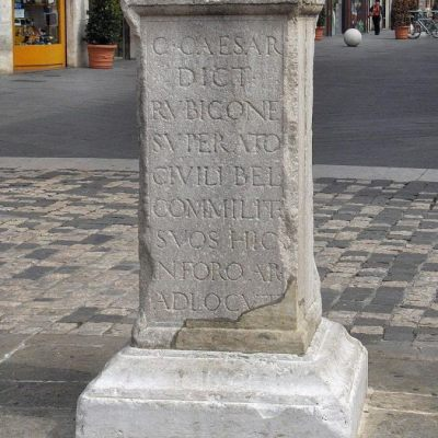 Column in Rimini (Italy) indicating the place where Caesar spoke to soldiers