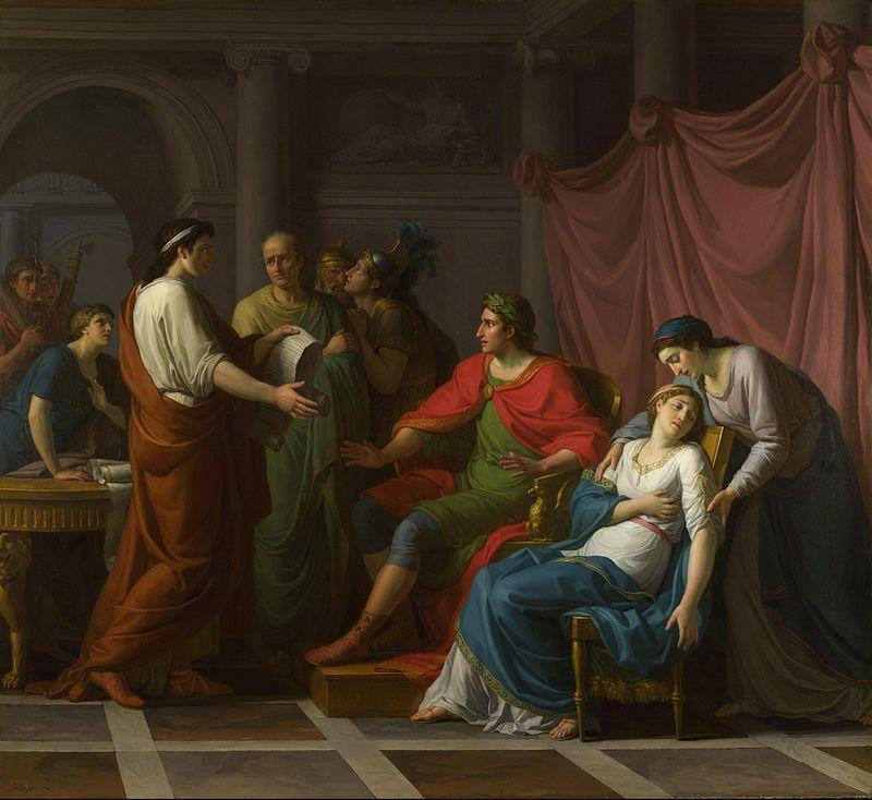 Wergiliusz czytający Eneidę, księgę VI, Augustowi i Oktawii, Taillasson