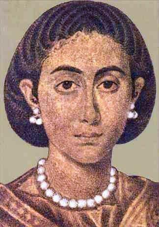 Możliwy wizerunek Galli Placydii na szklanym medalionie