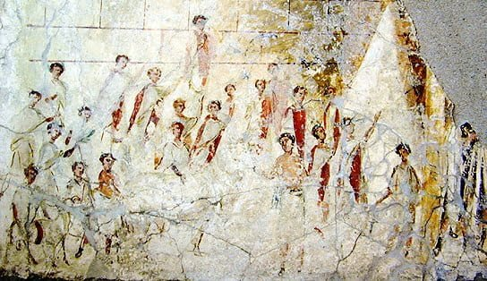 Roman fresco showing men dressed in a praetexta gown