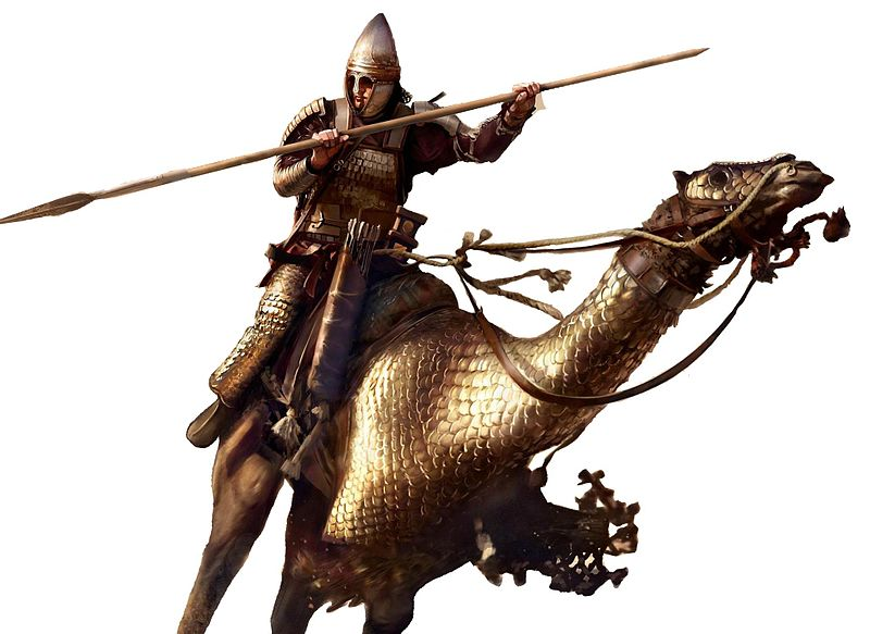 Heavy rider on an armored camel