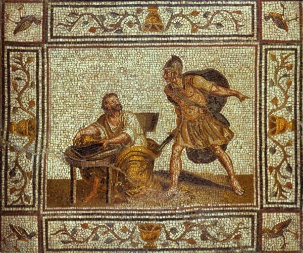 Śmierć Archimedesa ukazana na rzymskiej mozaice
