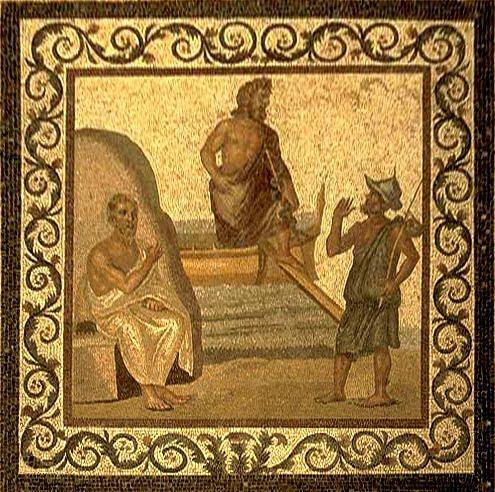 Mozaika rzymska z II-II wieku n.e. ukazująca Asklepiosa