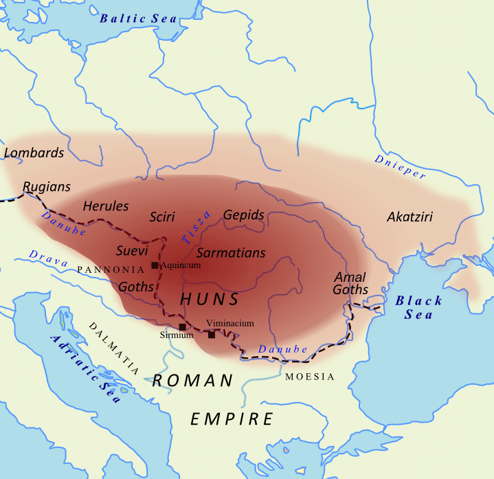Imperium Attyli około roku 450 n.e.