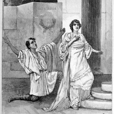 Hypatia przed teatrem na ilustracji w gazecie The Graphic