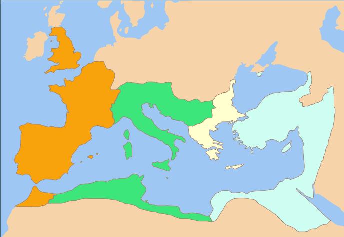 Podział Imperium Rzymskiego po śmierci Konstantyna I w maju roku 337 n.e.: Konstantyn II (pomarańcz), Konstans (zieleń), Dalmacjusz (beż) oraz Konstancjusz II (błękit).