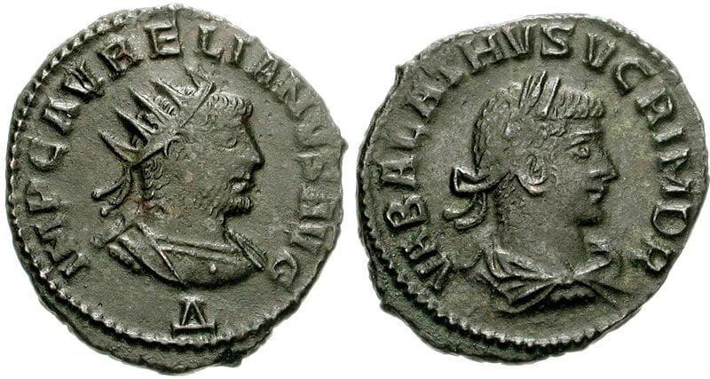 Moneta z wizerunkami Aureliana i Waballata