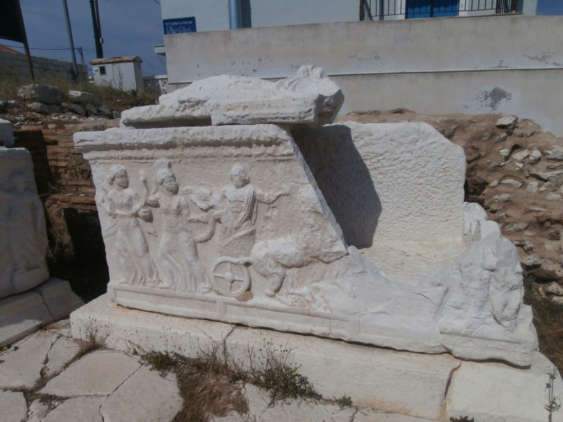 Roman sarcophagus at the cemetery in Fiskardo
