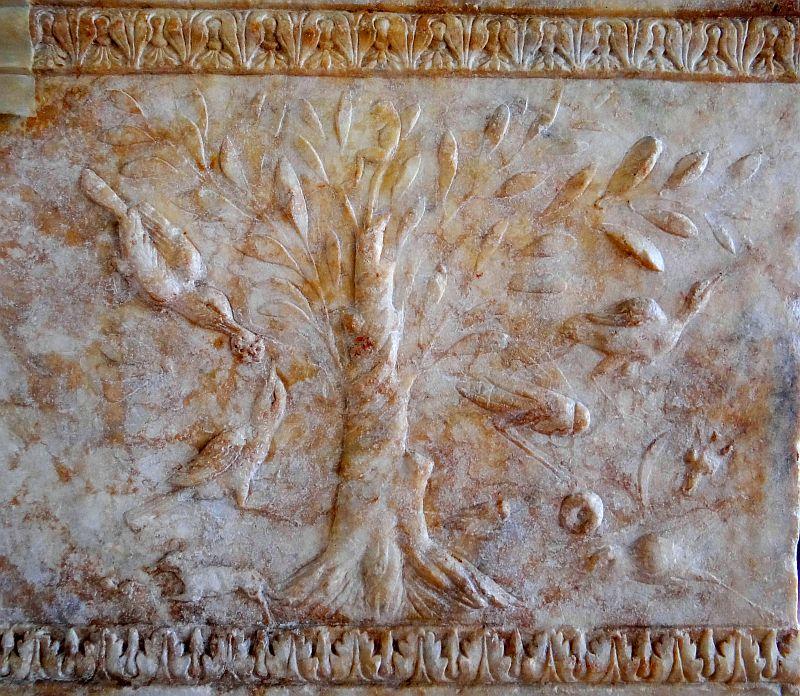 Relief na sarkofagu w Peruzji. Zima r 41 -40 pne była długa i ciężka. Oktawian praktycznie zagłodził miasto na śmierć