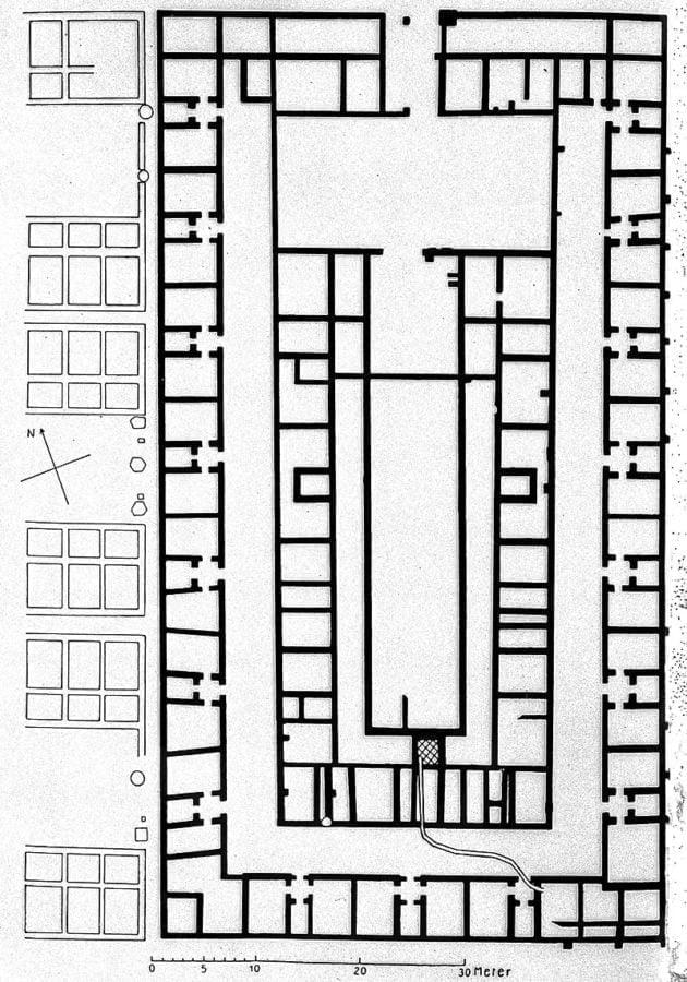 Plan valetudinarium niedaleko Düsseldorfu (Niemcy). Obiekt datowany na I wiek n.e.