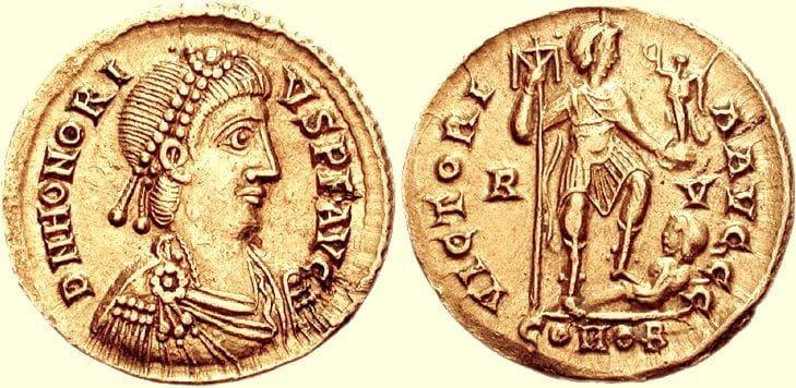 Moneta cesarza Flawiuza Honoriusza