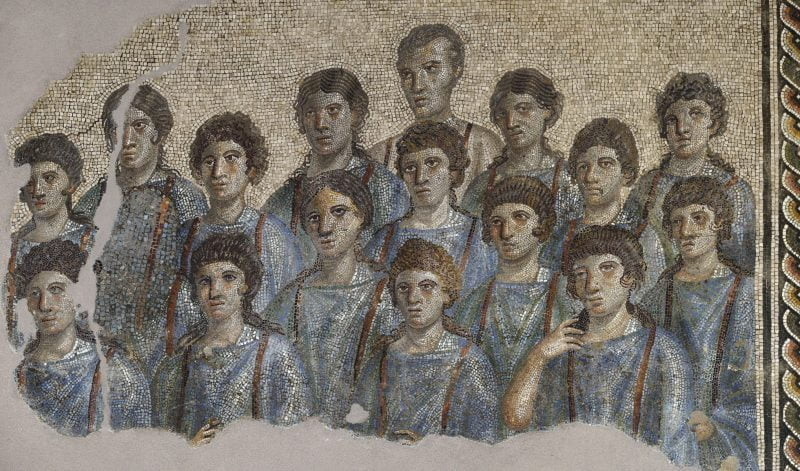 Roman mosaic showing the choir from the schola cantorum from Capua