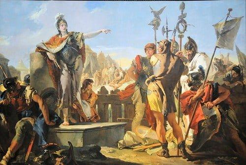 Zenobia przemawiająca do żołnierzy, obraza autorstwa Giovanniego Battisty Venetia