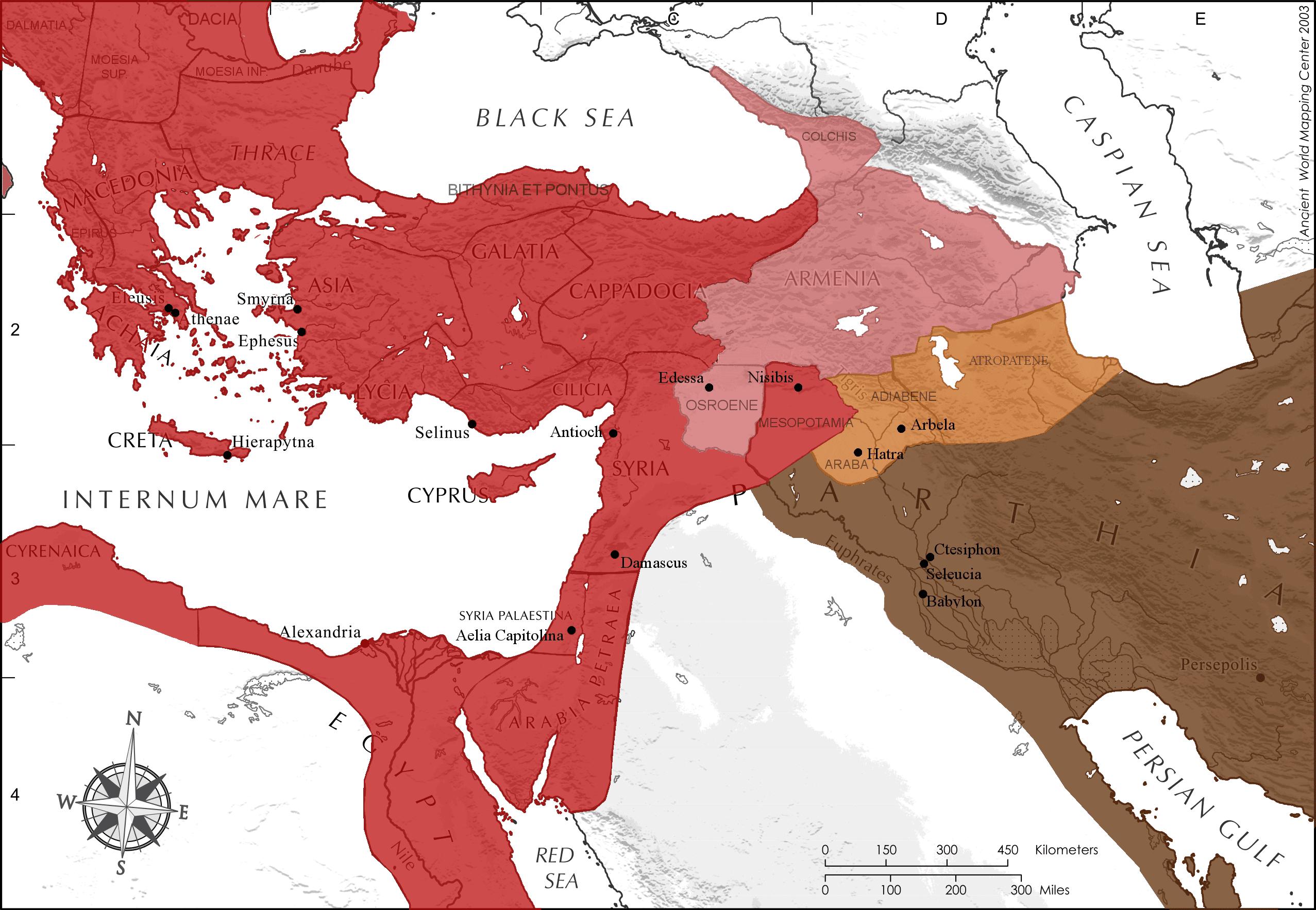 Rzymsko-partyjska granica około roku 200 n.e.