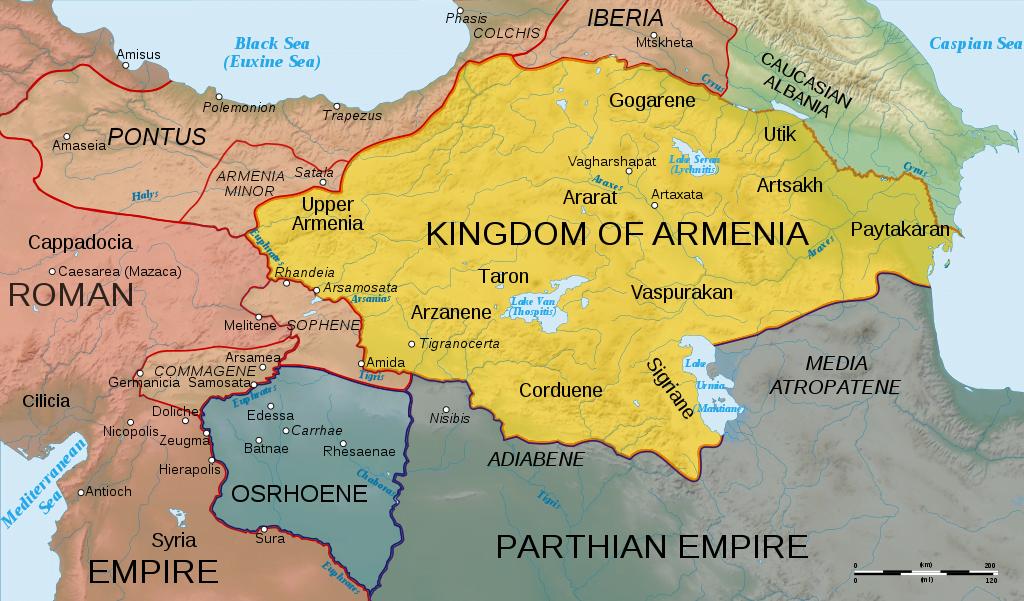 Mapa z około roku 50 n.e. ukazująca Armenię, wschodnią część Cesarstwa Rzymskiego i Partię przed wybuchem wojny