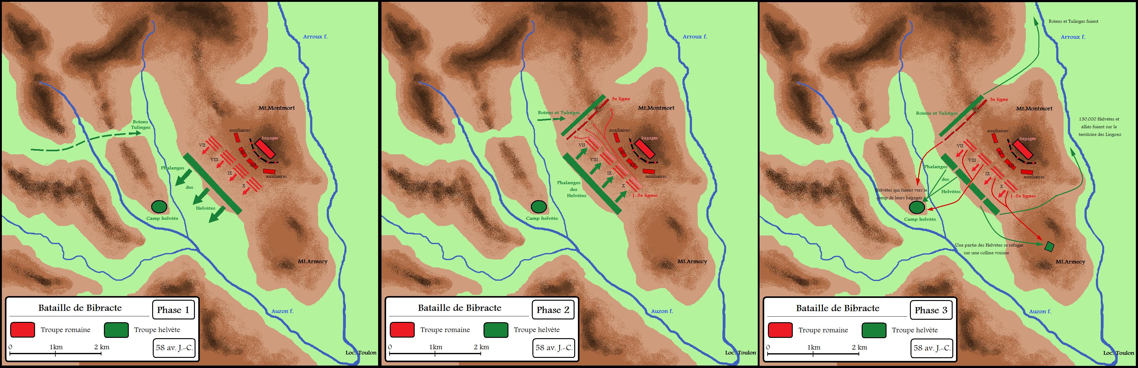 Plan bitwy pod Bibrakte w 58 roku p.n.e.