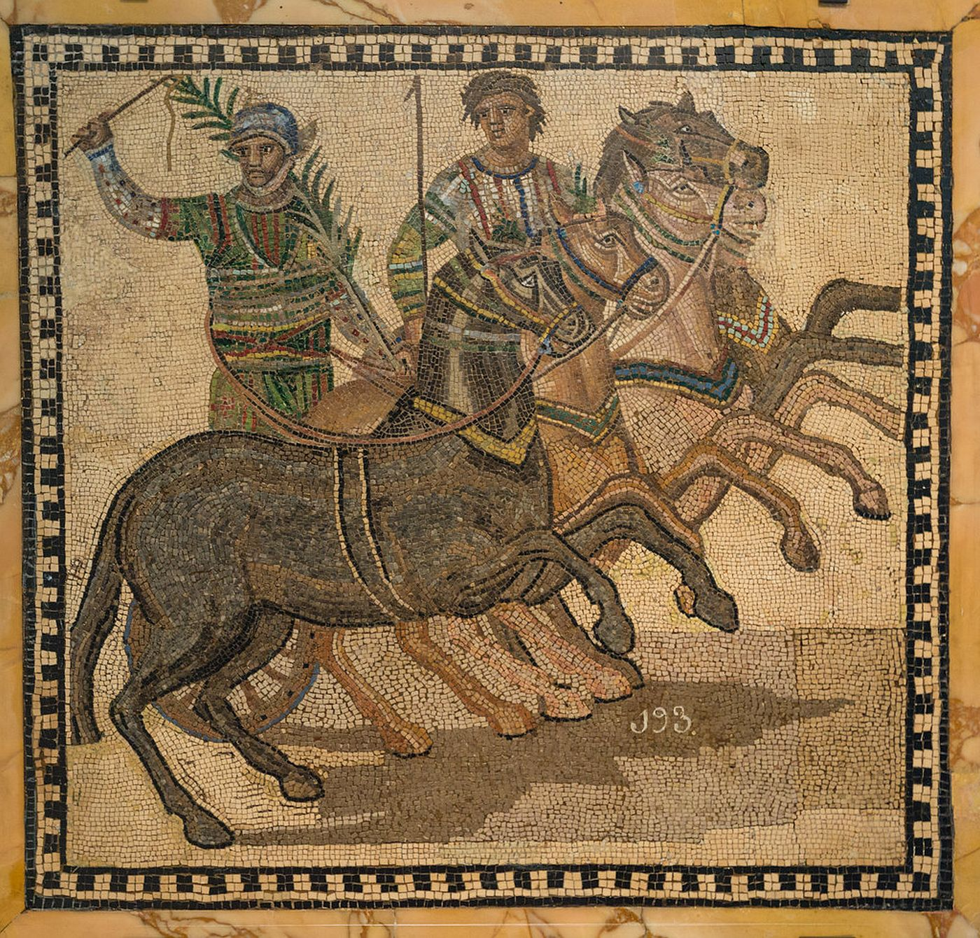 Winner of the chariot race on the Roman mosaic