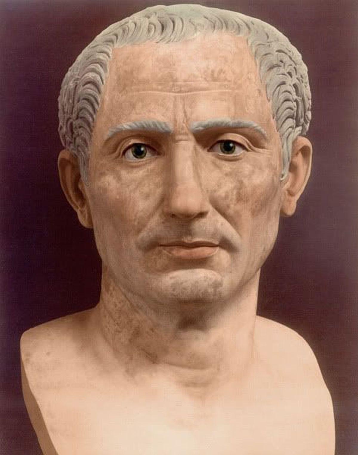 Rekonstrukcja popiersia rzymskiego wodza - Juliusza Cezara.