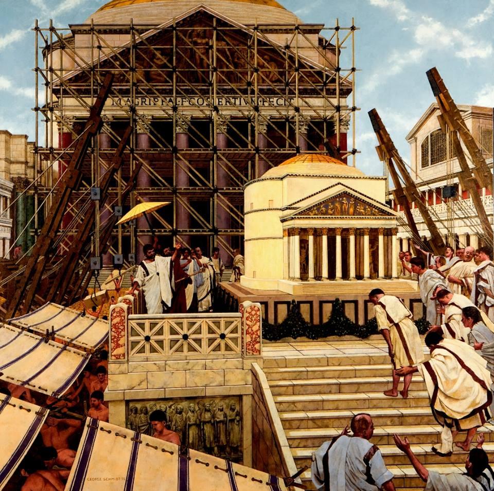 Hadrian i jego architekt Apollodoros z Damaszku oglądają model nowej Świątyni Wszystkich Bogów