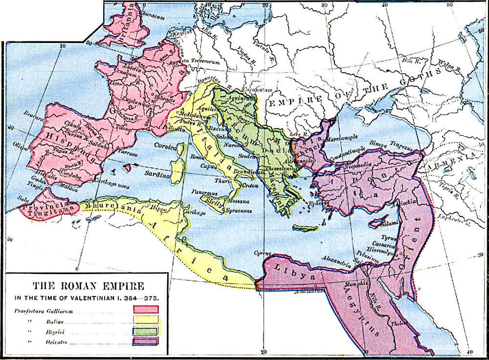 Mapa ukazująca zasięg Imperium Rzymskiego za panowania cesarza Walentyniana I