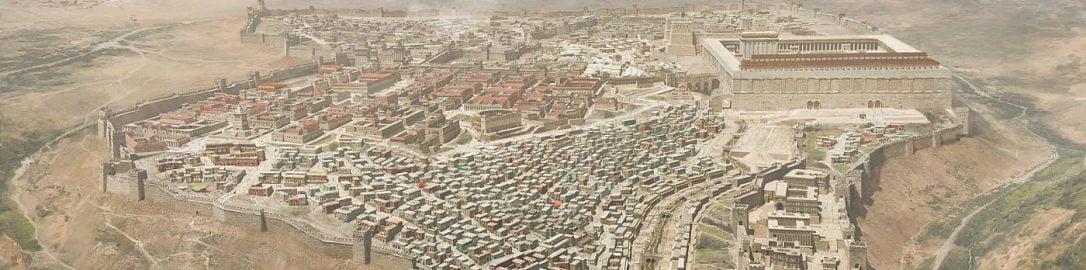 Ilustracja ukazująca Jerozolimę tuż przed wybuchem pierwszej wojny przeciw Rzymianom