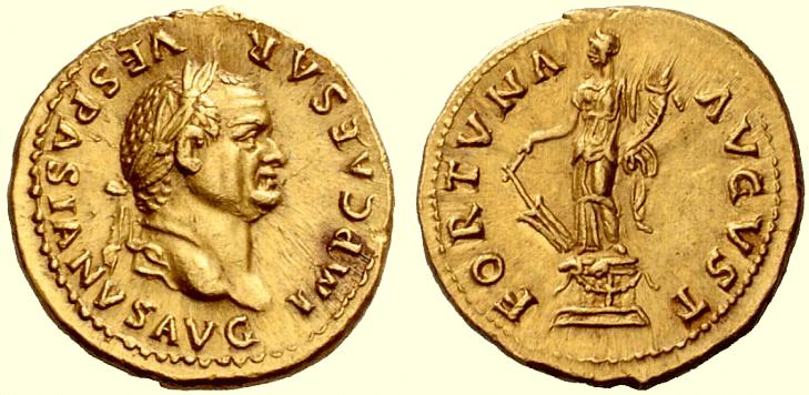 Rzymski aureus ukazujący Wespazjana jako cesarza. Na rewersie widnieje bogini Fortuna