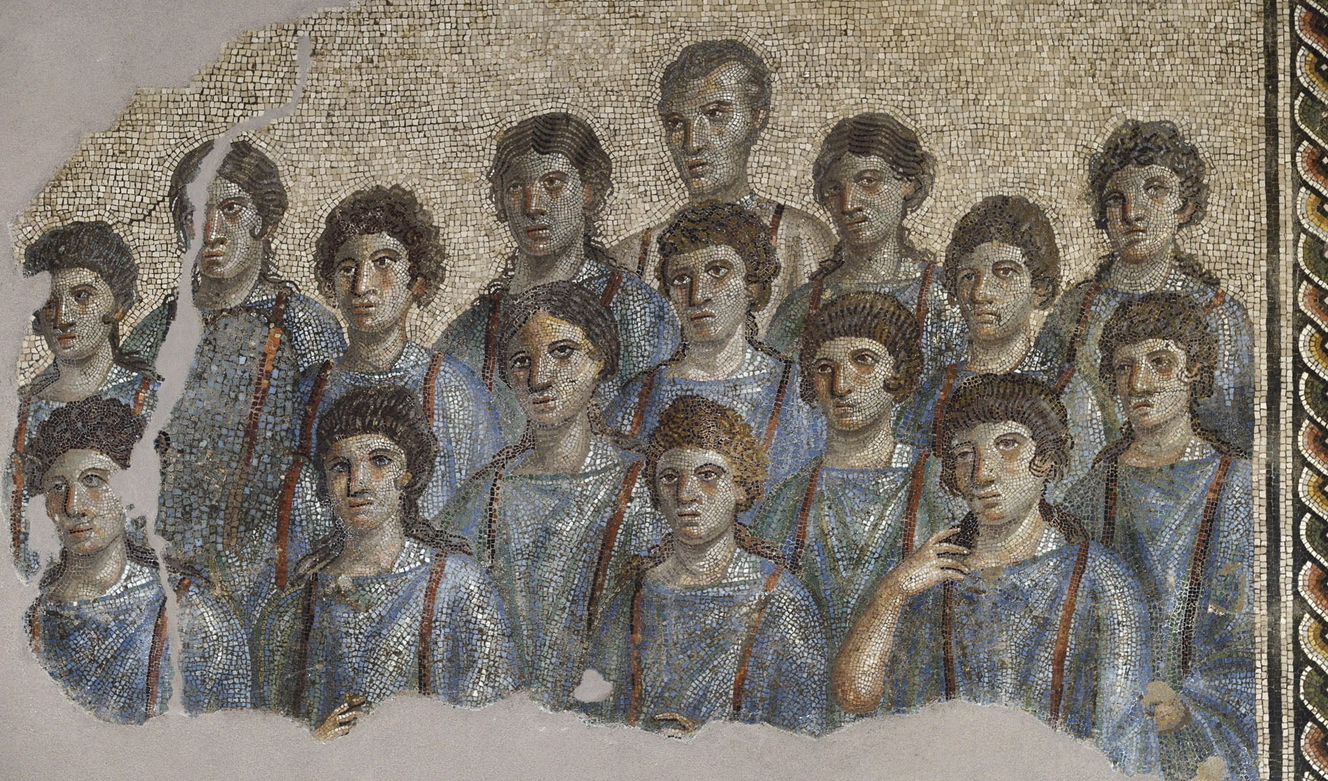 Mozaika rzymska ukazująca chór z schola cantorum z Kapui