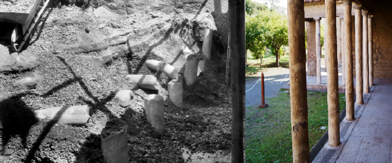 Villa in Oplontis under excavation and now